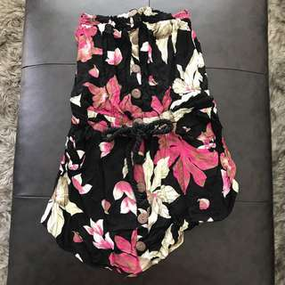 Floral tube dress with tie