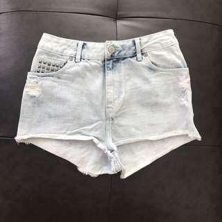 Blue short shorts high waist