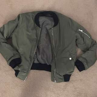 Olive TopShop bomber with black accents