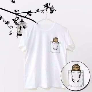 White & black Rengertee sloth t-shirt