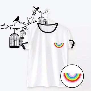 White & black rengertee rainbow t-shirt