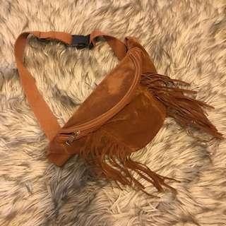 Camel brown fringe fanny pack
