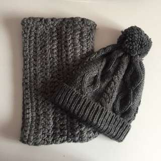 Gray beanie and circle scarf