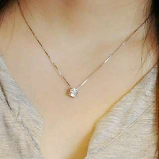 (AUTHENTIC) Sterling Silver Clavicle Chain Zircon Pendant (Necklace)