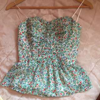 Guess strapless tie back Top