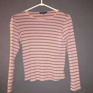 Reitmans Pink striped long sleeve