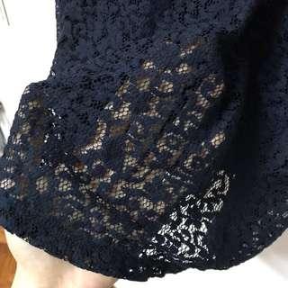 Dark Blue Sleeveless Lacey Dress