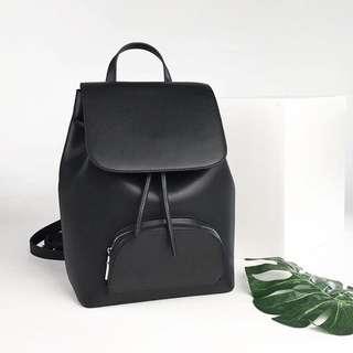 Hieleven Black Leather Backpack
