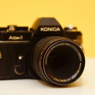 Konica Macro Hexanon 55mm F3.5 Lens with Konica ACOM Film Camera