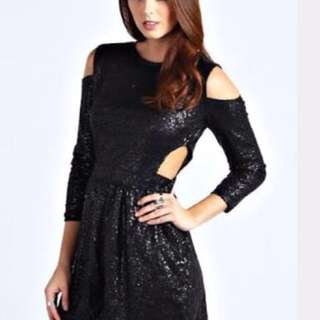 Sequin black playsuit with cutout