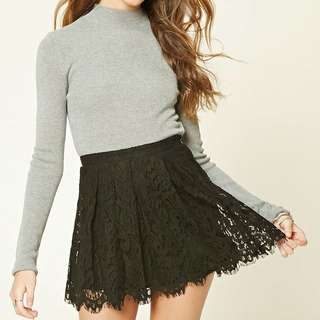 Forever 21 Lace Crochet Mini Flare Skirt