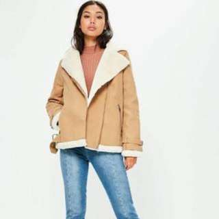 Faux Fur Lined Aviator Jacket | Size 10