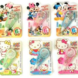 1x Hello Kitty Mickey Mouse Correction Tape Assorted