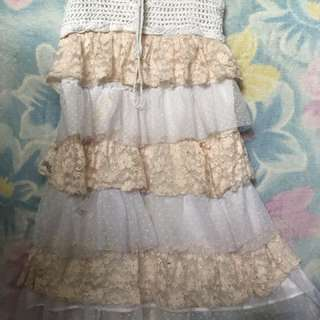 Ruffled dress with Crochet on top
