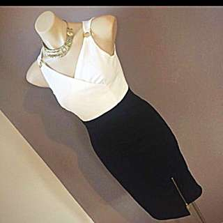 Ladies work Bodycon Wiggle black white knee length zipper dress size 6 8 Xs s