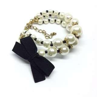 黑x白 珍珠手環