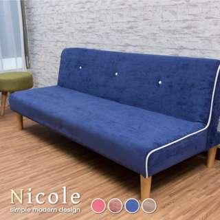 【BNS居家生活館】Nicole妮可雙人三段式摺疊沙發床(多色任選)~沙發/雙人沙發/沙發床