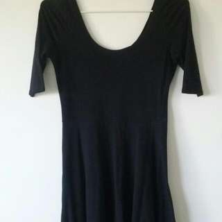 Black Cotton Skater Dress (Size Small)