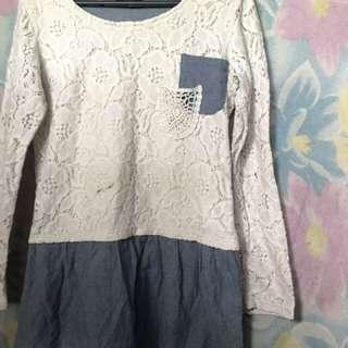 White lace denim skirt
