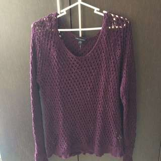 American Eagle Outfitters Maroon Crochet Pull Over