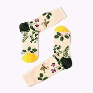 復古風格花朵中筒襪