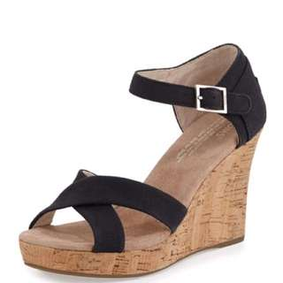 Toms Black Canvas Strappy Wedges Size 8