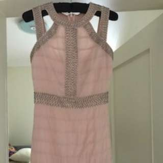 Baby pink linen and sequence dress