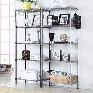 Instock Metal Steel Rack Shelf 5tier Bookshelf Kitchen Shelves 55x30x150cm Sliver Black