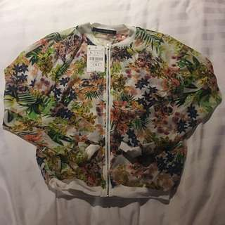 CNNC Floral see-though sheer baseball jacket