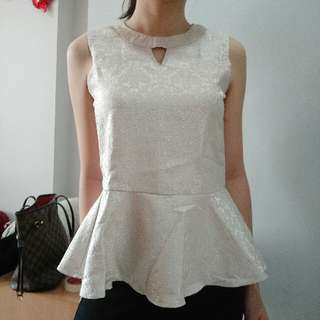 Creme Peplum Top