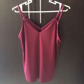 Maroon V-Neck Top