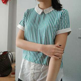 Green Stripes Top Zara Lookalike