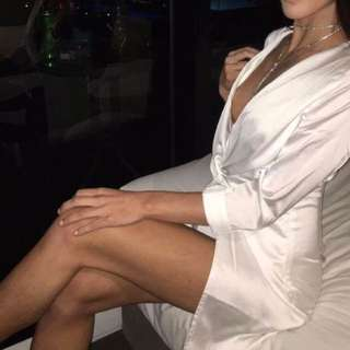 White silk dress with side slit