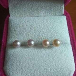 18K白金天然有色淡水珍珠耳環(配姊妹裙)