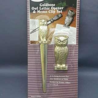 OWL LETTER OPENER & MEMO CLIP SET [704]