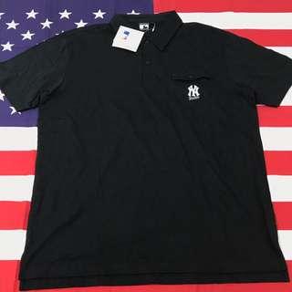MLB Yankees 洋基隊 刺繡黑色Polo衫 2XL
