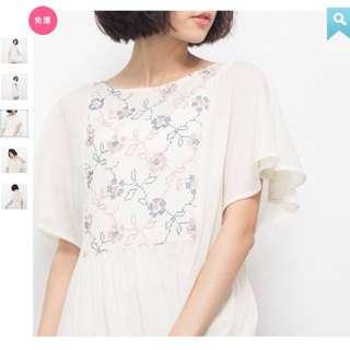 🚚 全新五折轉售 台灣好品牌 許許兒 織花漫漫刺繡水花袖洋裝