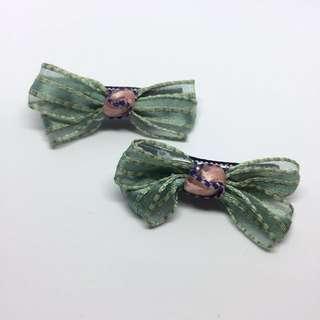 薄荷綠半透明緞帶蝴蝶結髮夾 不拆售