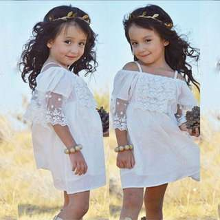 ready stock Kids Girl White Lace Off Shoulder Dress