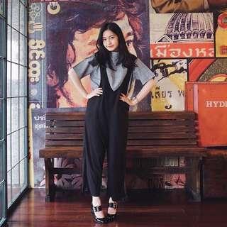 Plaid Black Set (Top&jumpsuit)