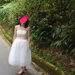 浪漫蕾絲雕花 短婚紗/白紗