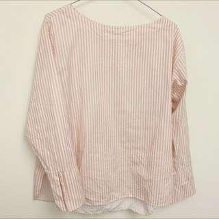 🇰🇷粉色條紋寬袖