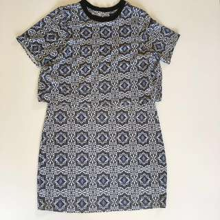 Topshop blue pattern mini dress with open back details in size 6