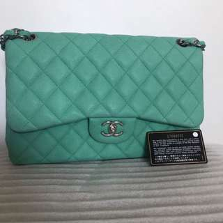 CHANEL GREEN SUEDE CAVIAR CLASSIC JUMBO DOUBLE FLAP BAG