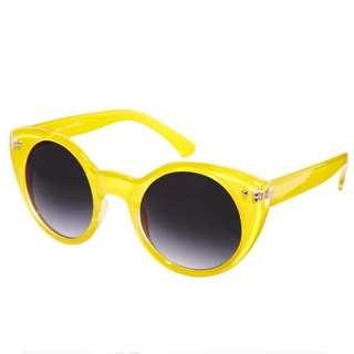 🇬🇧ASOS英國空運 名品牌QUAY街拍女超模 時尚編輯超亮眼 夏日醒目漸層墨鏡 圓框太陽眼鏡 現貨亮黃色