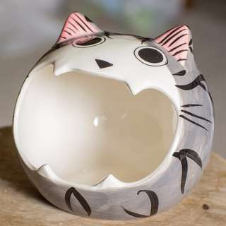 Cute Grey Cat Hideout Accessory for Hamsters, Gerbils and other small animals