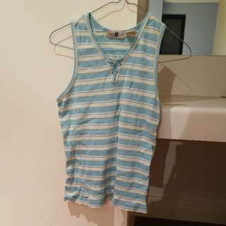 Cute summer Singlet blue stripes