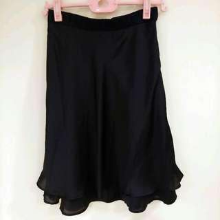 日本專櫃Clear Impression深藍魚尾緞面中長裙