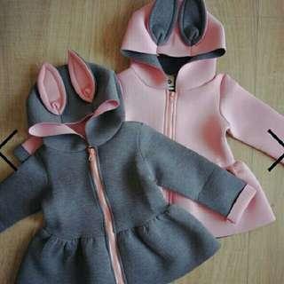 Cute Bunny Ear Zip Up Hoodie Kids Wear