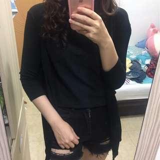 黑色長版外套